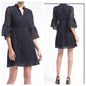 NWT Banana Republic Navy Floral Bell Sleeve Dress